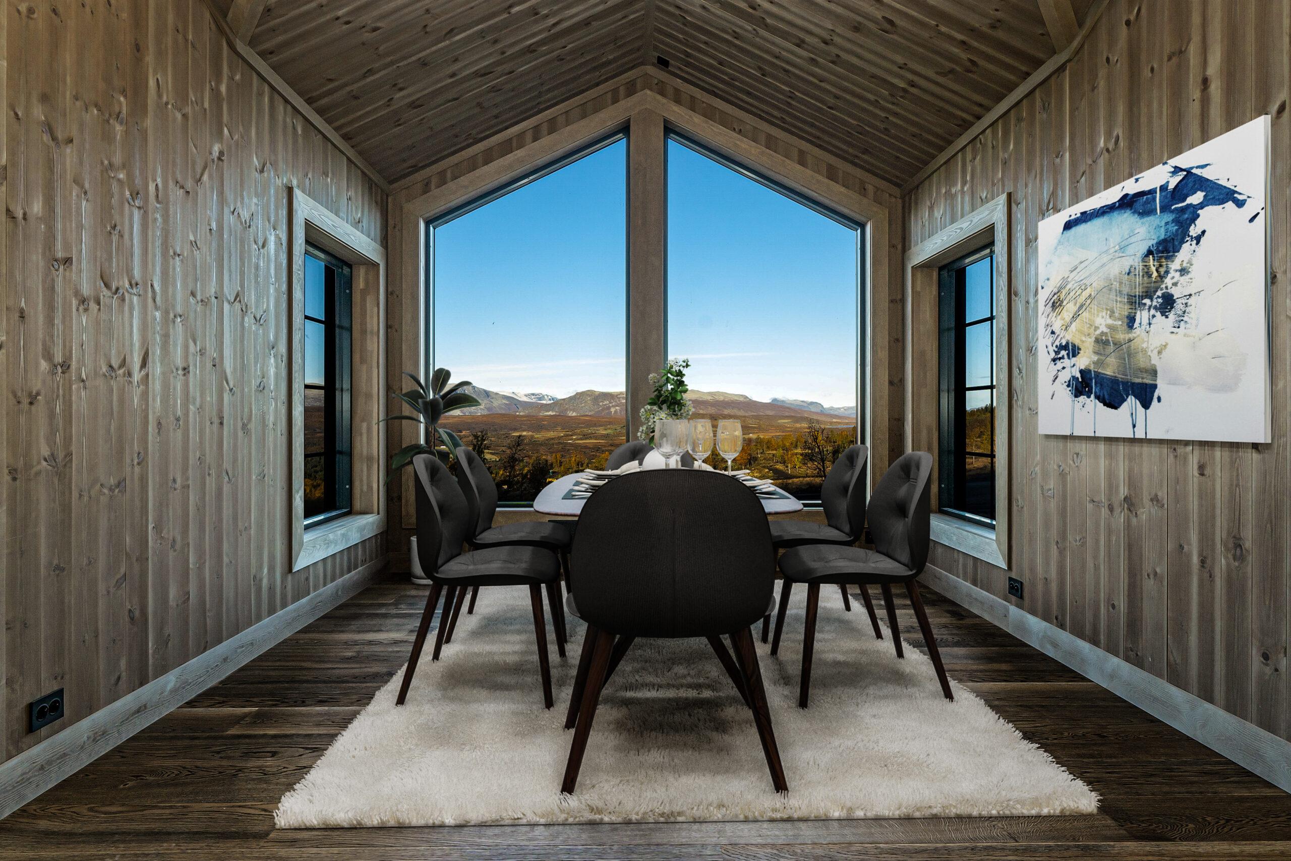 utsikt stue fjellet panorama vindu magnor