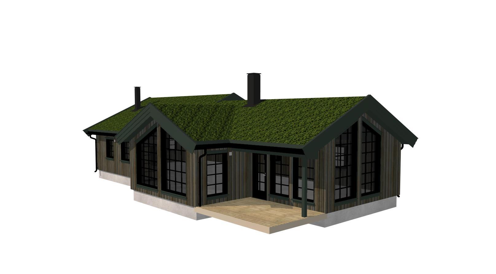 fasade arkitekt tegnet hytte torvtak panorama vindu oversikt utvendig